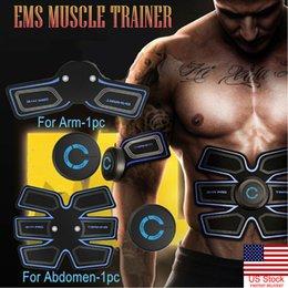 Simulador ABS recarregável EMS Treinamento de Estimulação Muscular Queima de Gordura Corporal Inteligente Queimador de Cintura Abdominal Braço Músculo em Promoção