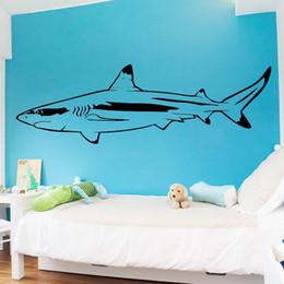 $enCountryForm.capitalKeyWord NZ - Amusing Shark Wall Art Decal Wall Sticker Mural For Kids Room Decoration Wall Art Decal