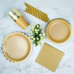 "plate napkins NZ - 48 Sets Gold Kraft Party Tableware Paper Plates 9"" Dishes 7"" Paper Cups Paper Straws Napkin Bridal Shower Wedding Party Supplies"