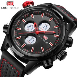 $enCountryForm.capitalKeyWord NZ - MINI FOCUS Men's Army Sports Chronograph Watch 2019 New Leather Strap LCD Display Quartz Wristwatch EL Backlight MFL0066 Red