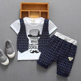 $enCountryForm.capitalKeyWord NZ - Children's Suit Fashion Baby Boys Wear Cotton Gids Waistcoat Cartoon Mustache T Shirt Tops Short Outfits Set Toddler Boy Clothes