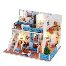 $enCountryForm.capitalKeyWord Australia - DIY Wooden Doll House Toys For Children House With Dust Cover Music Light Flash Assembling Dollhouse Miniatures Gifts K019