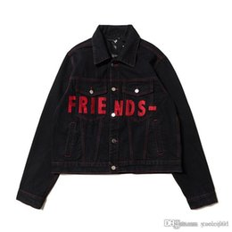 jacket shops Canada - VLONEE FRIENDS joint denim embroidery big V guerrilla shop limited men and women denim jacket s-xl