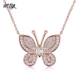 small stone necklace NZ - Deczign All Seasons Sweet look Butterfly Shape Small Pendant Cute Ladies Collier High quality CZ Stone colar feminino Women Necklace SN05214
