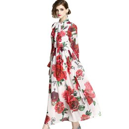 e656c059e999c Lady Chiffon Dress 2019 Summer Runway Maxi Dresses Plus Size Women s Long  Flare Sleeve Elegant Bow Rose Floral Print Long Dress