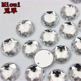 $enCountryForm.capitalKeyWord Australia - Micui 100PCS 15mm Clear Round Acrylic Rhinestones Crystal Flat Back Beads Sew On 2 Holes Stones For Clothing Decoration ZZ231B