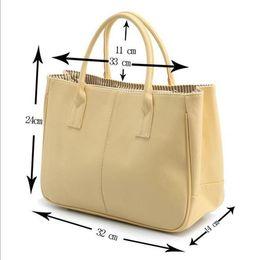 Plain Cotton Tote Australia - 12 Colors Women Leather Tote Handbag Fashion Brand Designer Candy Color Casual Shoulder Bag For Women