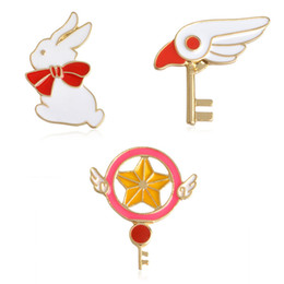 $enCountryForm.capitalKeyWord Australia - Magic wand key with wings bunny cute personality special creative brooch jewel gift to girl child