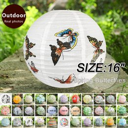 Chinese lantern birthday party online shopping - 16 quot Spring Butterflies Chinese New Year Paper Lanterns home decorations Birthday Party Festive Outdoor Activities lampshade hanging lantern