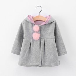 Jacket design girl online shopping - Fashion Design Girls Children Hooded Thick Soft And Comfortable Hair Ball Long sleeved Cardigan Children Tops Cartoon Shawl
