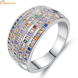 $enCountryForm.capitalKeyWord Australia - Charm Multicolor CZ Crystal Wide Rings For Women Vintage Sliver Filled Rhinestone Bohemia Ring Jewelry Cocktail Ring Wholesale