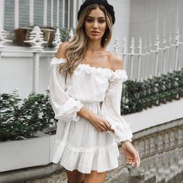 Dot Line Dress Australia - Sexy Dot Printed Dress Women Autumn Off Shoulder Ruffles Dresses Long Sleeve A-line Women Dress Robe Femme Ete 2018 Y19051102