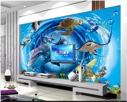 Custom Wedding Stickers Australia - 3d photo wallpaper High-end custom mural Silk wall sticker 3D underwater world dolphin TV background wall decoration painting