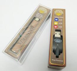 Опт Аккумулятор Vape Pen из латуни с костяшками и USB-зарядным устройством - Золотое деревянное напряжение подогрева Регулируемый 510-ниточный аккумулятор масляного картриджа