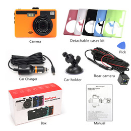 "dvr camera video recorder sd card UK - 3"" car driving recorder digital video camera car DVR full HD 1080P 2Ch 170° + 120° wide FOV 6 color cases change with mood"