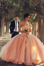 $enCountryForm.capitalKeyWord NZ - Peach Strapless Ball Gown Quinceanera Dresses Beaded Crystal Pearls New 2019 Sweet 16 Dress Tulle Puffy Skirt Princess Prom Party Gowns