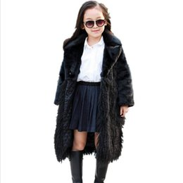 Teenage Coats UK - Black Winter Girls Faux Fur Coat Warm Teenage Jacket Snowsuit Outerwear Baby Children girl Clothes Fake Fur Overcoats clothing