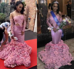 Black White Rose Dress Red Australia - Beautiful Two Pieces Mermaid Prom Dresses Black Girls Slay Off The Shoulders Lace Long Sleeves Rose Floral Evening Gowns Plus Size Pageant