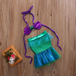 cartoon tutus Australia - 0-3Y Sequins Newborn Toddler Baby Girls Kids Halter Top +Cartoon Mermaid Tail Lace Dress Outfits Sunsuit Summer Costume 2PCS Set