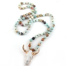 silicone knot NZ - Fashion Bohemian Jewelry Amazonite Stone Knotted Horn Pendant Necklace For Women Beaded Necklace V191031