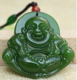 Natural Jade Pendant Buddha Australia - Green Jade Natural jade Buddha Lucky Amulet jade Pendant Necklace Wholesale Hand engraving statue
