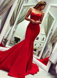 a5e98826c Robes de Soiree Vermelho Vestidos de Noite Sereia Vestido de Baile Longo  Barato Strapless Querida Decote Partido Vestidos Formais Vestidos de Fiesta