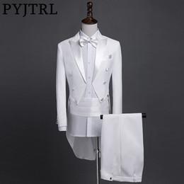 Suits Tails Australia - Pyjtrl New Plus Size S-4xl Mens Classic Black White Shiny Lapel Tail Coat Tuxedo Wedding Groom Stage Singer Four Piece Suit C190416