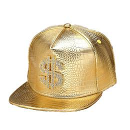 Black Diamond Caps UK - Faux Leather Snapback Baseball Caps Diamond dollar Sign Gold Crocodile Snap Back Hat Men Women Sports DJ Hiphop Hats