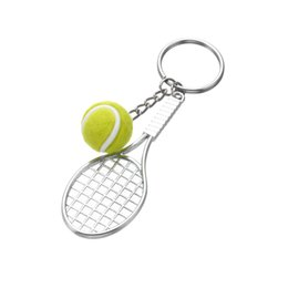 $enCountryForm.capitalKeyWord Australia - Tennis Racket Keychain Cute Sport Mini Keychain car Pendant Keyring Sports Key Chain Who love sports Gifts