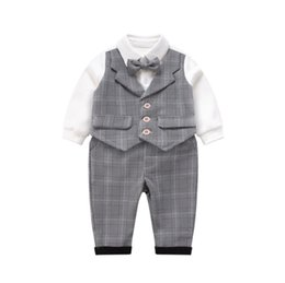 boy romper set wholesale Canada - Infant boys outfits kids Bows tie fake two piece plaid waistcoat romper+lattice pants 2pcs sets baby boys 1st birthday party clothes F9367