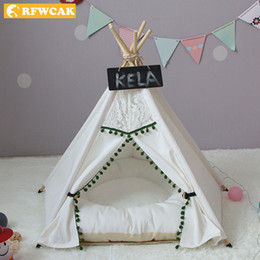 small dog house kennels Australia - RFWCAK Pet Dog Tent Pet Dog House Kennel Washable Tent Bed For Small Dogs Puppy Cat Indoor Outdoor Portable Teepee With Mat