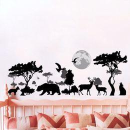 $enCountryForm.capitalKeyWord Australia - Black African Steppe Animal Silhouette Wall Stickers Home Decor Bedroom Window Deer Wall Decals PVC Tree Moon Art Mural Poster
