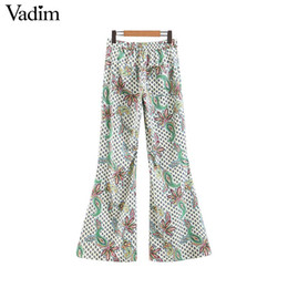 $enCountryForm.capitalKeyWord UK - Vadim women stylish retro pasiley floral print boot cut pants elastic waist zipper fly design pockets female chic trousers KA964