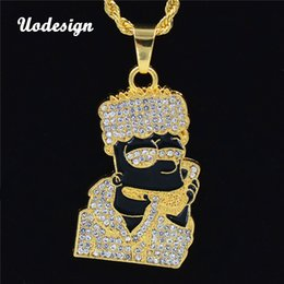 Micro Oil Australia - New Oil Ice Out Bling Full Micro Pave Rhinestone Men Head Pendant Necklace for Men Jewelry