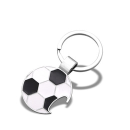 bottle opener rings logo UK - 100pcs lot custom keychain metal soccer football basketball key ring custom logo bottle opener souvenir bag charm CS-KR-M01