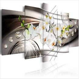 $enCountryForm.capitalKeyWord NZ - 5pcs set Unframed Diamond White Orchid HD Print On Canvas Wall Art Picture For Home and Living Room Decor