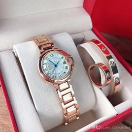 Wholesale Top brand 3 Sets Dress Women Watch & bracelet & Ring Luxury rose gold Stainless Steel band wrist watches For ladies Gift Relogio Feminino