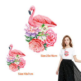 $enCountryForm.capitalKeyWord Australia - Punk style heat transfer pink crowned crane flowers iron on patches for shirt beautiful girl decoration 10 piece cheap
