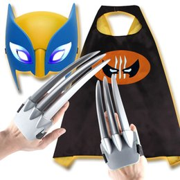 3b7c985cd2e  TOP  Cosplay X-men Wolverine toy Claws Gloves + Light Mask + Cloak cloth  set toy X-man Paw weapons child costume party gift