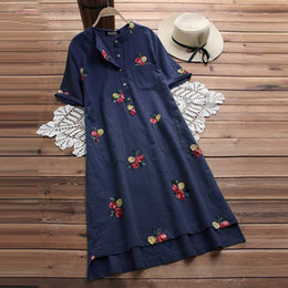 floral print knee length tops Australia - Women Embroidery Dress Summer Long Top Vintage Cotton Linen Knee High Kaftan Vestido Female Plus Size Blusas Shirt Robe 5Xl