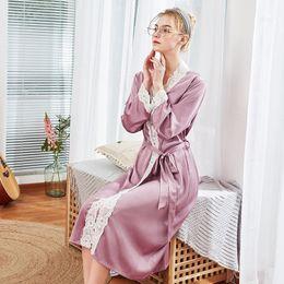 Women Bathrobe Silk Long Robe Pajamas Robe Hot Sexy Lace Nightgowns  Nighties Long Sleeve Blouse Female Sleepwear Pijama 9e3b26dba