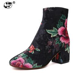 $enCountryForm.capitalKeyWord NZ - New Women's boots Autumn Winter Printing Boots Woman Streetwear High Top Corduroy Velvet Ankle Boots Bootie Pump Heels 993