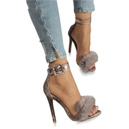 $enCountryForm.capitalKeyWord UK - Women Summer High Heel Sandals Leopard Fur Square High Heel Shoes Woman Ankle Strap Buckle Sandal Size 35-42