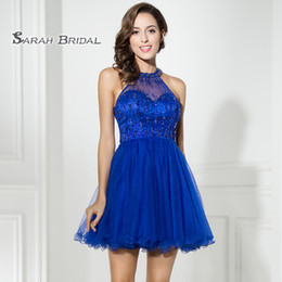 $enCountryForm.capitalKeyWord Australia - Short Luxury Royal Blue A-Line Prom Dresses 2019 Sexy Backless Cocktail Tulle Mini Skirt Homecoming Dress Formal Graduation Party Gown LX309