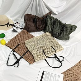 Bands Handbags Australia - Bohemian Handmade Bucket Bag Women Hand Woven Big Capacity Straw Bag Fashion Beach Big Luxury Band Tote Handbag Dropshipping