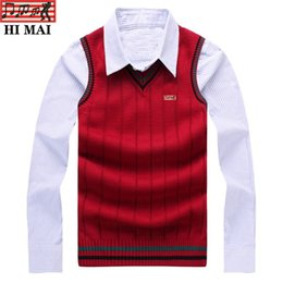 v neck sleeveless men cotton Australia - 100% Cotton Vest Men new Autumn Winter New British style V-neck Sleeveless Sweater Knitwear Pull Brand base top Sweater vest