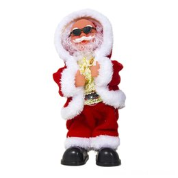 dance christmas ornament UK - New Christmas Decorations Electric Shaking His Head Dance Santa Claus Music Christmas Childrens Toys Ornaments Kids Toys