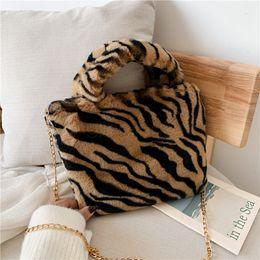 Girls plush handbaGs online shopping - 7styles Leopard shoulder Bag Women Handbag Plush Handbag Gold Chain Messenger Bag Winter Soft Warm girl lady Fur Bags FFA3106