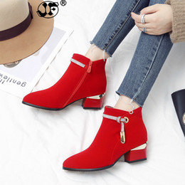 Discount sexy mesh boots - 2018 Autumn Winter Fashion Woman Boots High Heels women Leather Ankle Boots Sexy Pointed Toe Martin Boots