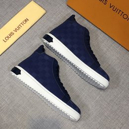 plaid design NZ - Free shipping new style high-end luxury men's casual shoes fashion design brand platform high-top men's shoes classic plaid pattern JDRT